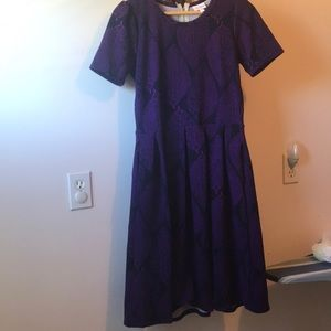 Lularoe Amelia dress m navy purple leaf print